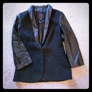 The Limited faux leather and ponte black jacket